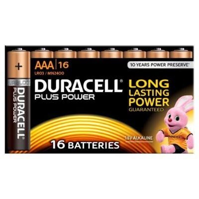 Duracell MN2400 Plus Power Alkaline AAA Size Batteries (Pack of 16)