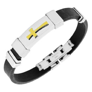 Stainless Steel Black Rubber Silicone Two-Tone Religious Cross Men's Bracelet