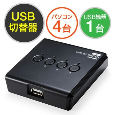 USB切替器(手動・4台用・USB2.0・プリンタ・外付けHDD・ワイヤレスキーボード&マウス対応)【送料無料】