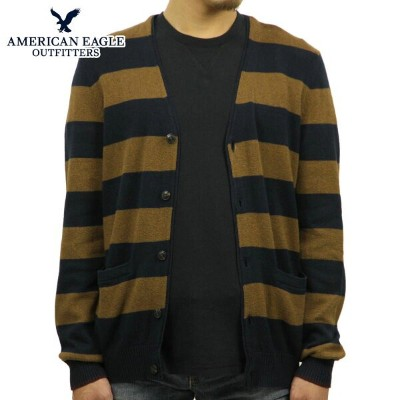 【35%OFFセール 7/14 20:00~7/21 1:59】 アメリカンイーグル AMERICAN EAGLE 正規品 メンズ カーディガンセーター AE STRIPED CARDIGAN 1149-9745 NAVY-BROWN