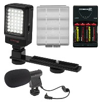 プレシジョン デザイン デジタル Camera / Camcorder LED ビデオ Light with Bracket with Microphone + Batteries &...