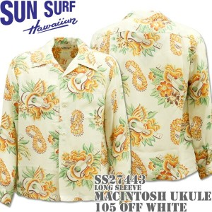 SUN SURF(サンサーフ)アロハシャツ HAWAIIAN SHIRT『MACINTOSH UKULELE L/Sleeve』SS27443-105 Off White