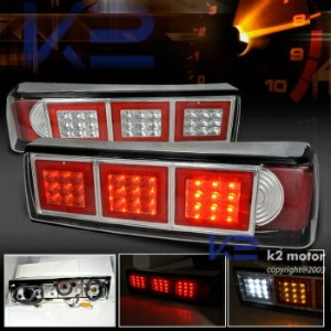 フォード マスタング テールライト 1987-1993 Ford Mustang Full LED Reverse Brake Signal Tail Lights Chrome 1987...