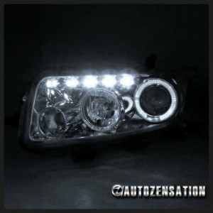 トヨタ bB ヘッドライト 08-10 Scion xB bB Chrome Clear LED DRL Dual Halo Projector Headlights Headlamps 08...