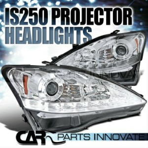 レクサス ヘッドライト 2006-2009 Lexus IS250 Chrome SMD LED Strip Projector Headlights+Amber LED Signal 2006...