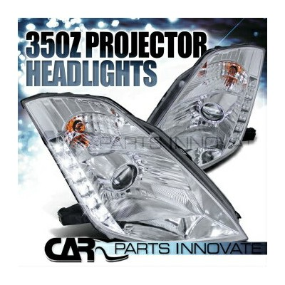 "日産 フェアレディー Z ヘッドライト Fit 03-05 Nissan 350Z Z33 Fairlady Chrome ""HID"" Projector Headlights+SMD LED..."