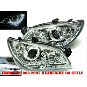 スバル インプレッサ ヘッドライト Impreza 2006-2007 06-07 Projector HEADLIGHT DRL LED R8 WRX STI Chrome for SUBARU...