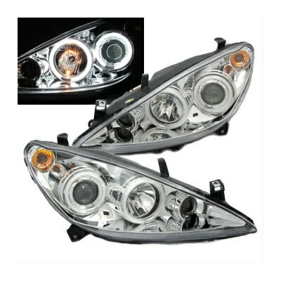 プジョー ヘッドライト 307 2001-2008 3/5D CCFL Angel-Eye Fog Projector HEADLIGHT Motor Chrome PEUGEO 307 2001...