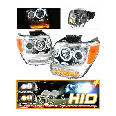Dodge Nitro ヘッドライト Xenon HID 07-08 Dodge Nitro CCFL Halo Projector Headlights キセノンは07-08ダッジ...