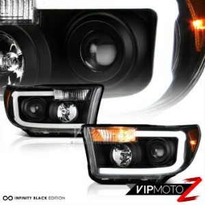 トヨタ タンドラ ヘッドライト 2007-2013 Toyota Tundra [Cyclop Optic] Neon Tube Black DRL Projector Headlights...