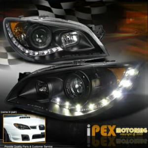 スバル インプレッサ ヘッドライト 2006-2007 Subaru Impreza WRX STi Outback LED DRL Bar Projector Black Headlights...