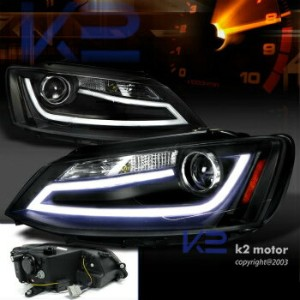 フォルクスワーゲン ヘッドライト Fit 11-14 VW Jetta MK6 Euro Black Projector Headlights+LED DRL Light Bar フィット11-14...
