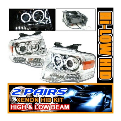 Ford Expedition ヘッドライト 2 Sets 8000K Xenon HID 07-09 Ford Expedition CCFL Halo Projector Headlights...
