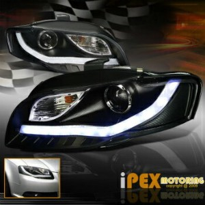 "アウディ ヘッドライト * Facelifted * 2006-2008 Audi A4 ""B7 [Glow LED Strip] Projector Headlights Black ..."