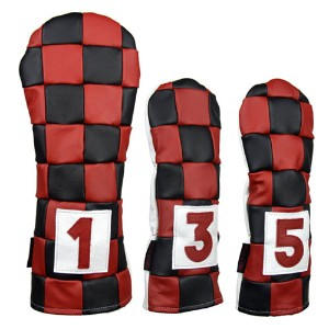 Rose & Fire Checkered Premium USA Leather Headcover Set【ゴルフ アクセサリー>ヘッドカバー】
