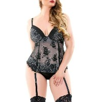 DRJ DRJ Lingerie Shoppe レディース インナー ガーターベルト【madison corset/ matching panty/ detachable garter set ...