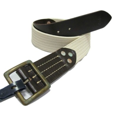 (ポロ ラルフローレン)POLO RALPH LAUREN ベルト Canvas-Backed Leather Belt クリーム Cream