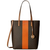 マイケルマイケルコース 2WAYトートバッグ Michael Michael Kors Hayley Large North-South Center Stripe Tote Bag (Brown...