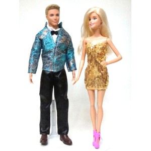 バービーとケン 着せ替え用ドレス/洋服 2着セット BGS1 (Blue and Gold Set a Cocktail Dress for Barbie and a Blue and Gold...