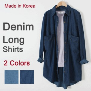 [something]Denim Pocket Long Shirts ★ Direct From Korea/ High Quality/Women Shirts/Denim