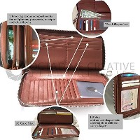 Wallet for Women Genuine Handmade Securely Stores 16 Cards Coins Phone PU Leather Zip Around