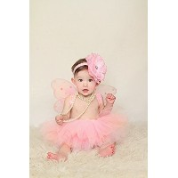 (Heart to Heart) Baby Tutu Set with Fairy Wings and Headband in Pink