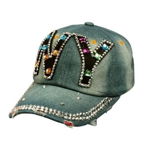 [アメリカ直送]Ladies Distresed Denim Jean NY Bling Bling Jewls Adjust Baseball Cap Hat Blue
