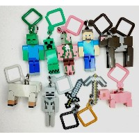 1Set/10pcs 4 Multi-pattern 10cm Minecraft Micro World Hanger Keychain Keyring Clip Figures Games...