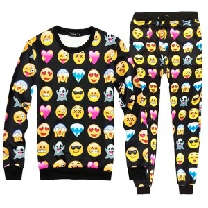 New Womens EMOJI Smile Print Funny Hoodies Sweatshirt Tops Jogger Tracksuit Pant Best Discount