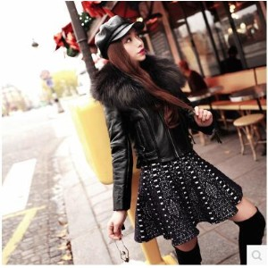 2016 Winter new Europe and the United States wild big-haired short-haired motorcycle jacket leather...