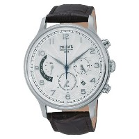 パルサー Pulsar PU6015 44mm Stainless Steel Case Brown Calfskin Mineral Men's Watch 男性 メンズ 腕時計 【並行輸入品】