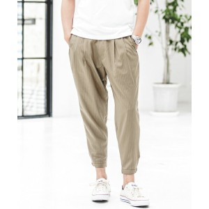 【CAMBIO(カンビオ)】Stripe Tuck Wide Tapered Pants パンツ