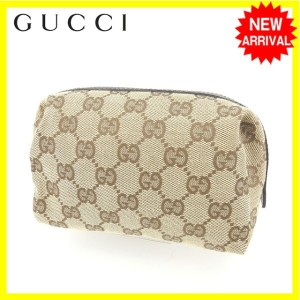df620a82fbb1 【中古】 【送料無料】 グッチ GUCCI ポーチ 化粧ポーチ 男女兼用 GGキャンバス