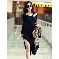 Sexy Hollow-Out Detail Dress with Anomalous Hem For Women