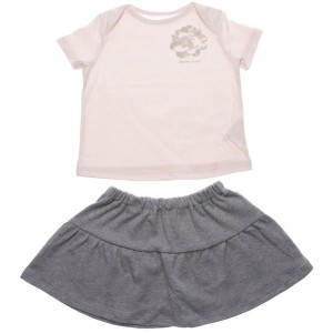 【SALE 50%OFF】コムサイズム COMME CA ISM 1・2歳頃用 トロンプイユTシャツ&スカートギフトセット(女の子向け) (ピンク)
