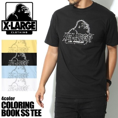 【メール便可】 エクストララージ X-LARGE 半袖Tシャツ COLORING BOOK SS TEE 全4色(X-LARGE M17A1105 BANANA BLACK POWDERBLUE...