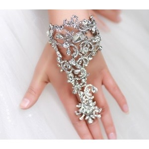 Luxury handmade white exaggerated bracelet hand chain wedding accessories, wedding dress accessories