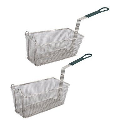 Culinary Depot Fryer Basket 13-1/4 x 6-1/2 with Plastic Green Handle (Set of 2) by Culinary Depot