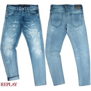 REPLAY/リプレイMR919 NUMASIG TAPERED-FIT JEANSクラッシュ&リペア、テーパードフィットジーンズ HAND MADE FINISHED IN ITALY 12oz...