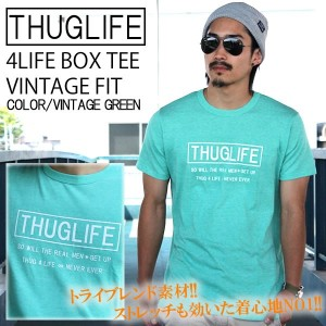 THUGLIFE サグライフ 半袖Tシャツ 4LIFE BOX TEE VINTAGE FIT ヴィンテージグリーン LA ストリート ワーク ミリタリー ヴィンテージ ストレッチ カラー 杢...