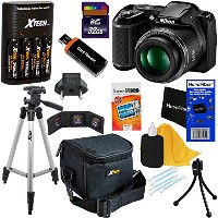 Nikon COOLPIX L340 デジタル Camera with 28x Zoom & Full HD ビデオ (Black) International Version + 4 AA...