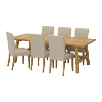 【IKEA/イケア/通販】 MÖCKELBY / HENRIKSDAL テーブル&チェア6脚, オーク, リッネリード ナチュラル(a)(S29183952)