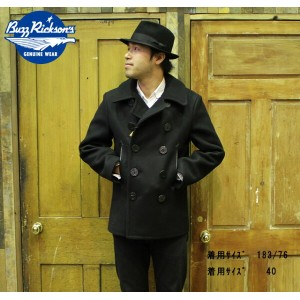 "No.BR12394 BUZZ RICKSON'S バズリクソンズWILLIAM GIBSON COLLECTIN""type BLACK PEA COAT"""