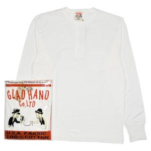 GLADHAND-26 STANDARD HENRY POCKET L/S T-SHIRTS /WHITE/パックT/スタンダード/ヘンリーネック/ポケット/長袖/Tシャツ【GANGSTERVILLE...