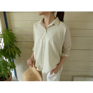 evam eva(エヴァムエヴァ) cotton square shirt(E171T213)