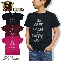 SWAT ORIGINAL(スワットオリジナル) 子供服 【Kids Tシャツ】 ミリタリーTシャツ「KEEP CALM and CARRY ON」