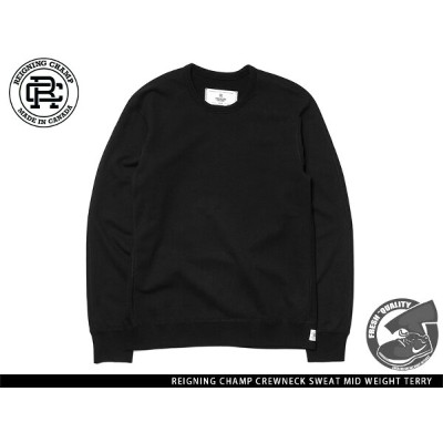 """""""Handcrafted in Canada"""" REIGNING CHAMP CREWNECK SWEAT MID WEIGHT TERRY BLACK レイニング チャンプ クルーネック ブラック"""