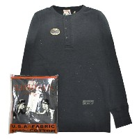 GLADHAND-11 USED WAFFLE HENRY L/S T-SHIRTS/BLACK/パックT/ヴィンテージ加工/ワッフル/ヘンリーネック/長袖/Tシャツ【GANGSTERVILLE...