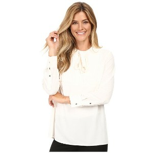 Vince Camuto Long Sleeve Tie Neck Pleated Tuxedo Blouse