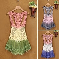 Stylish New Fashion Lady Women Gradient Lace Crochet Hollow Bikini Cover Up Tank Tops Blouses...